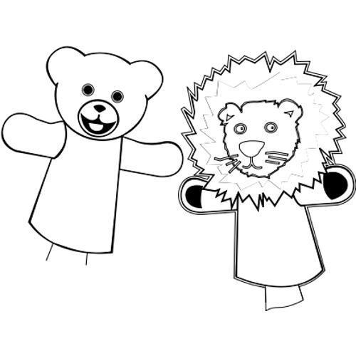 Malowanki - zabawki - miś i lew - kolorowanka do wydruku, darmowe