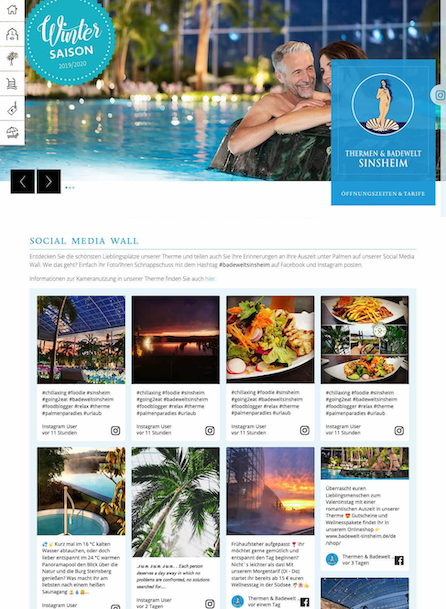 Screenshot of Thermen & Badewelt Sinsheim's social media wall. The image shows different photos of the hotel's facilities, food and sunsets.