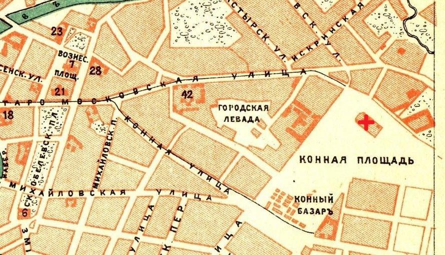 Місце розташування Свято-Духівської церкви позначено червоним хрестом. Мапа 1903 року