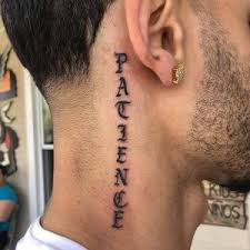 Neck word Tattoo Designs For Boys