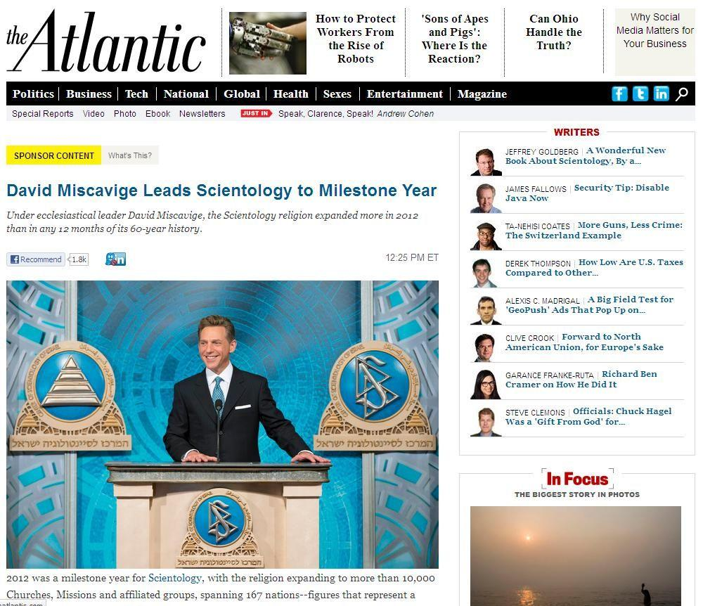 The Atlantic Church of Scientology article