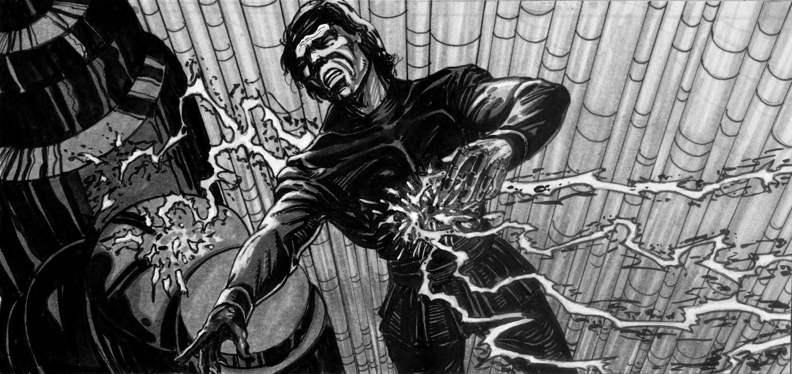luke hit by force lightning jedi story board