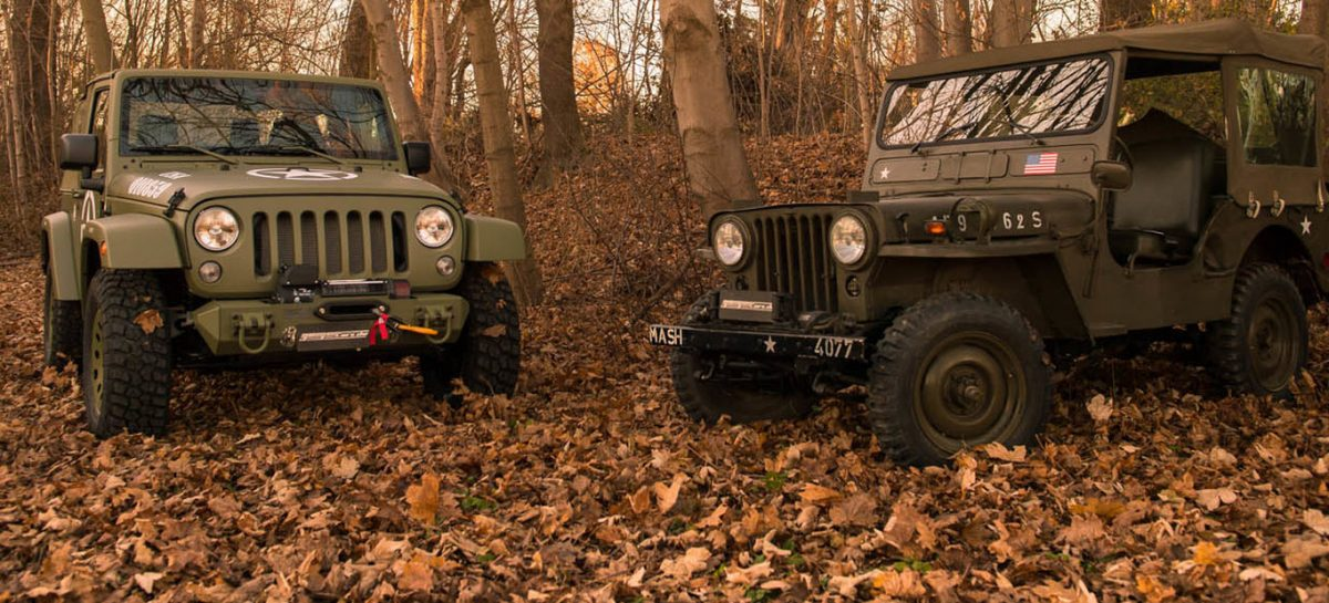 Jeep Wrangler Willys by Geiger Cars next to Willys-Overland