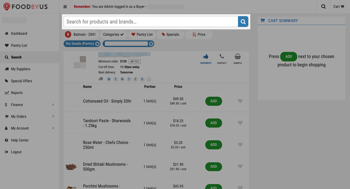 FoodByUs_dashboard_my_suppliers_search_for_items