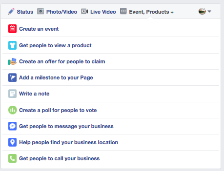 Post type options on your Facebook page