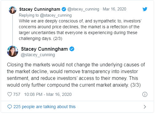 stacey cunningham on SEC