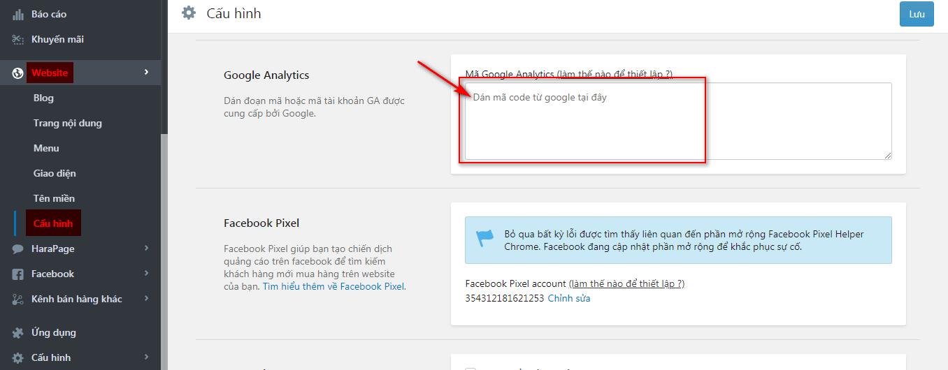Cấu hình ID Google Analytics