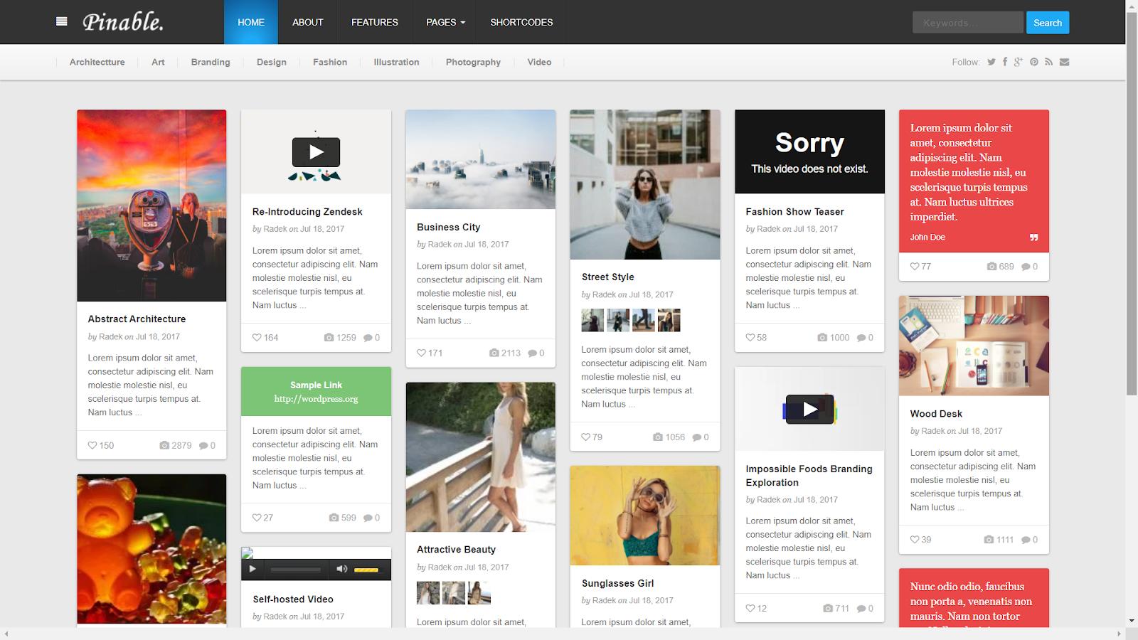 Pinable Masonry WordPress Theme