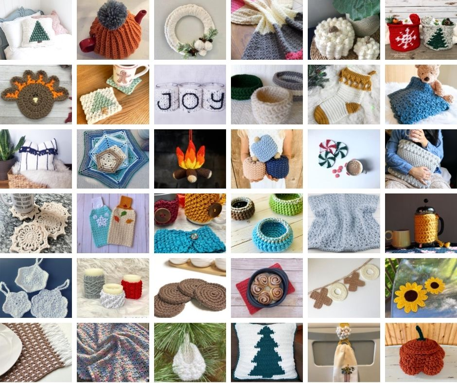 36 free crochet home decor patterns perfect for winter! Including crochet coasters, crochet pumpkins, crochet pillows, and crochet ornaments!