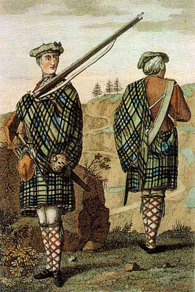 Two Scottish highland soldiers in plaid kilts.