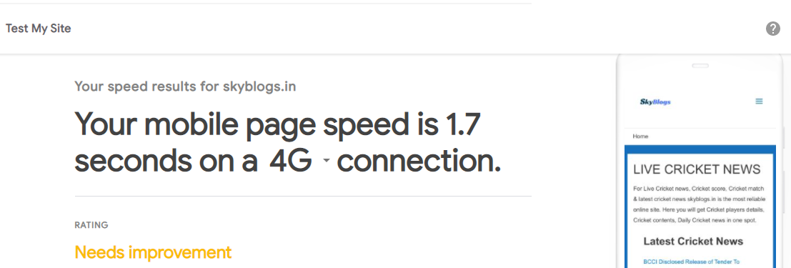 This image shows that how you can check your website speed in 4G Connection