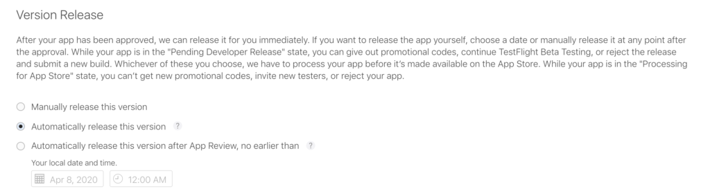 how to get an ios app on the app store version release
