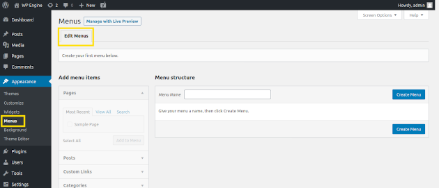 Screenshot of how to edit menu items in WordPress