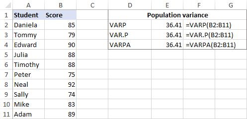 Calculating population variance in Excel