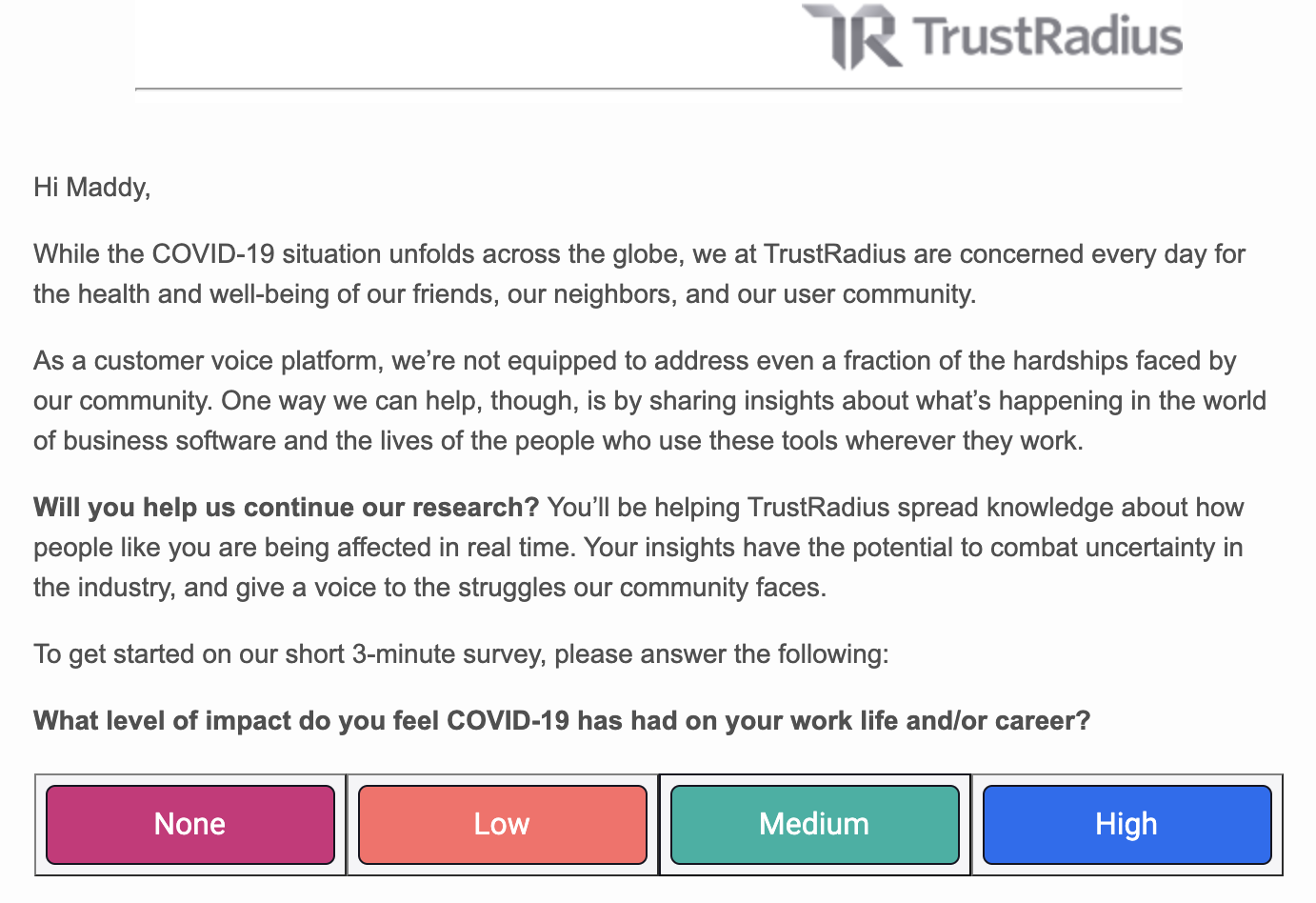 An example of a feedback request email from TrustRadius