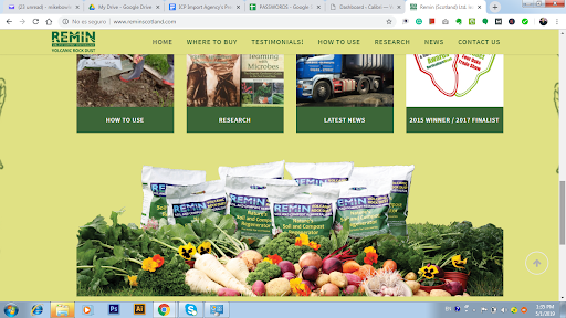 Screenshot of Remin(Scotland) Ltd Web Page for Remins Volcanic Powder Rock.