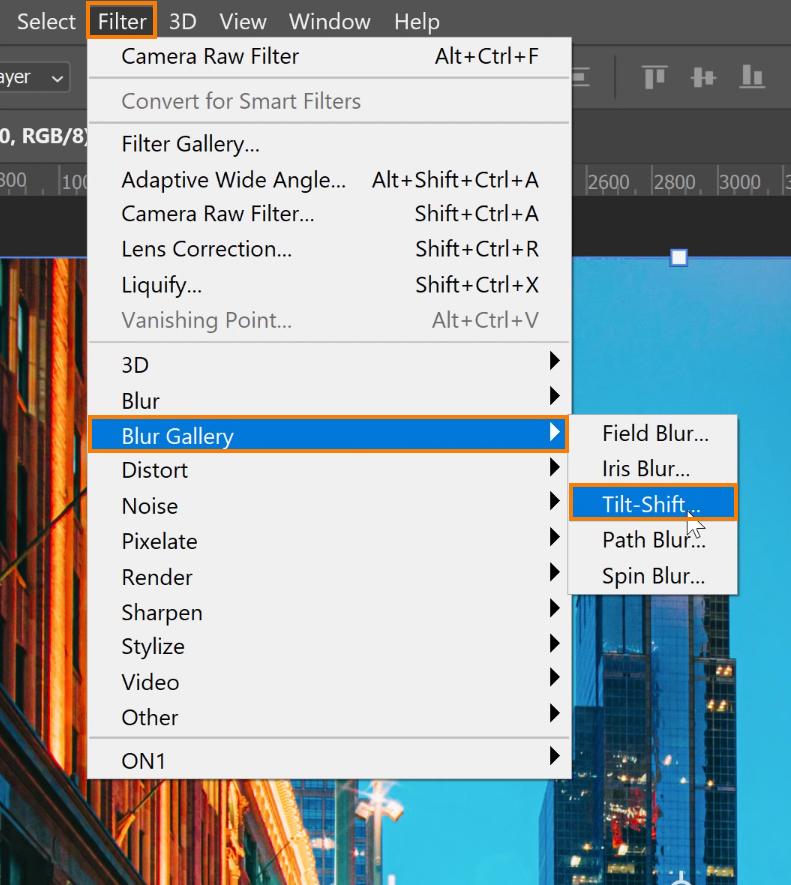 Choose Filter > Blur Gallery > Tilt-Shift