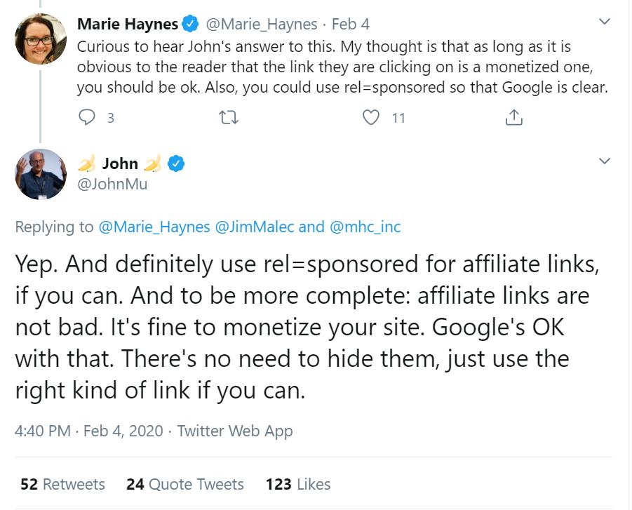 Tweet from John Mueller of Google
