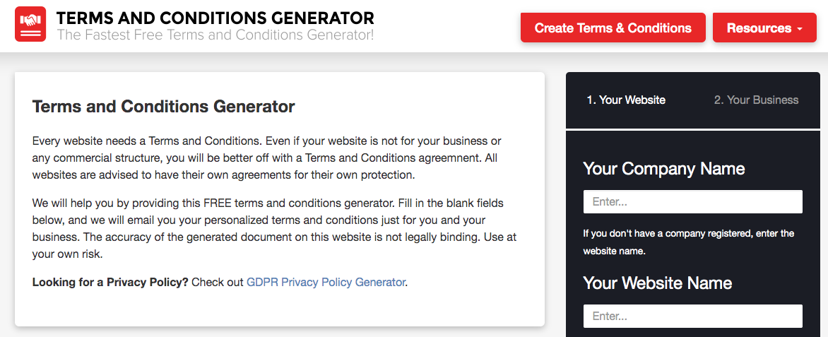 Terms and Conditions Generator Homepage