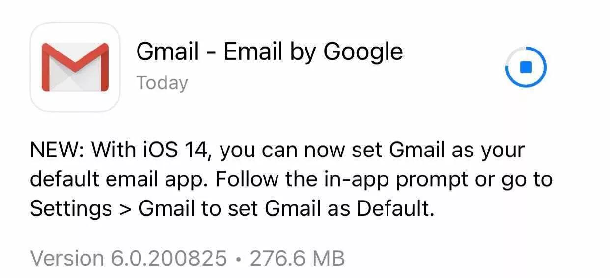 Paziņojums par Gmail iOS 14 uzstādījumiem