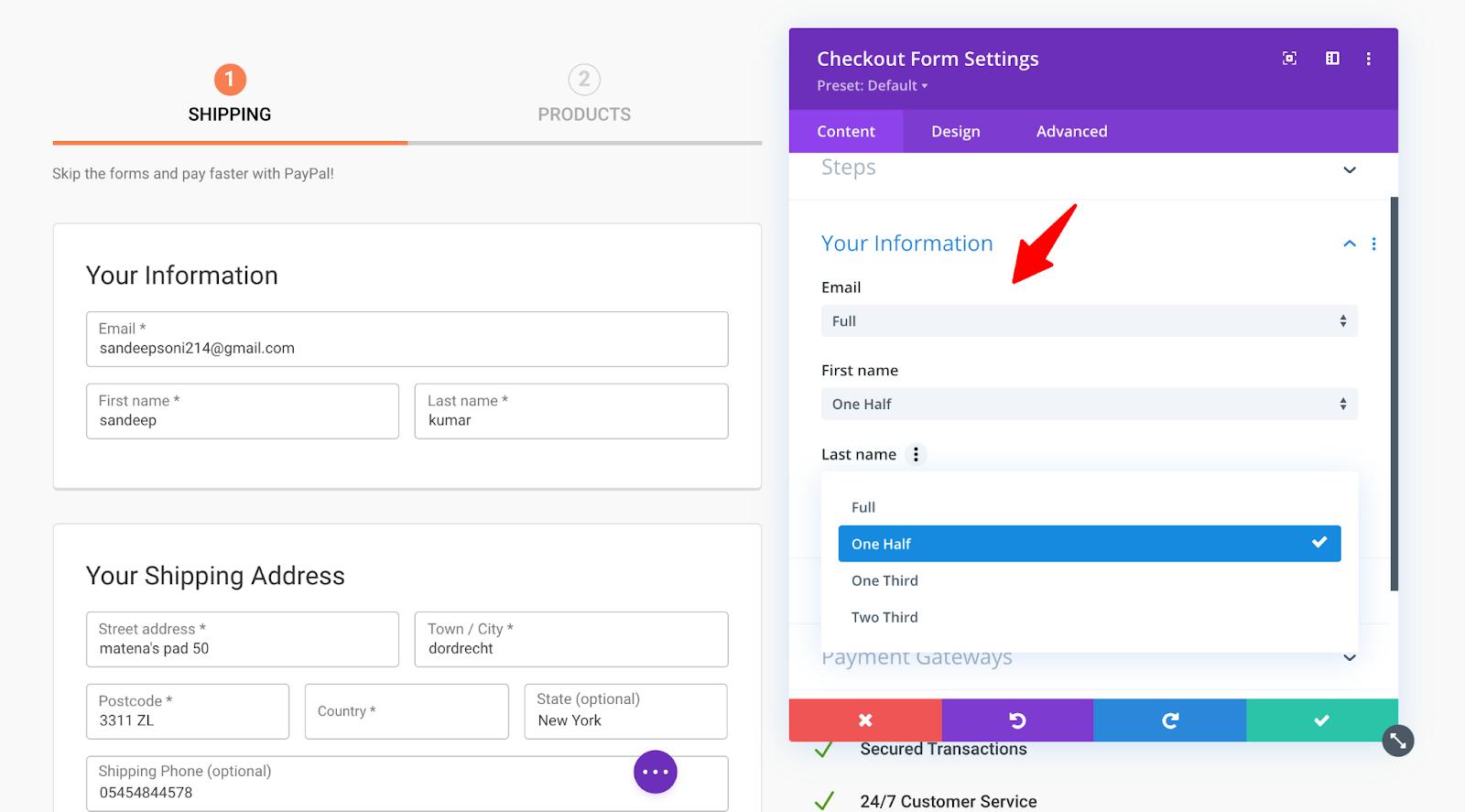 Your information - Content settings for Divi WF Checkout Form module