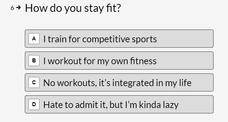 quiz question about how you stay fit