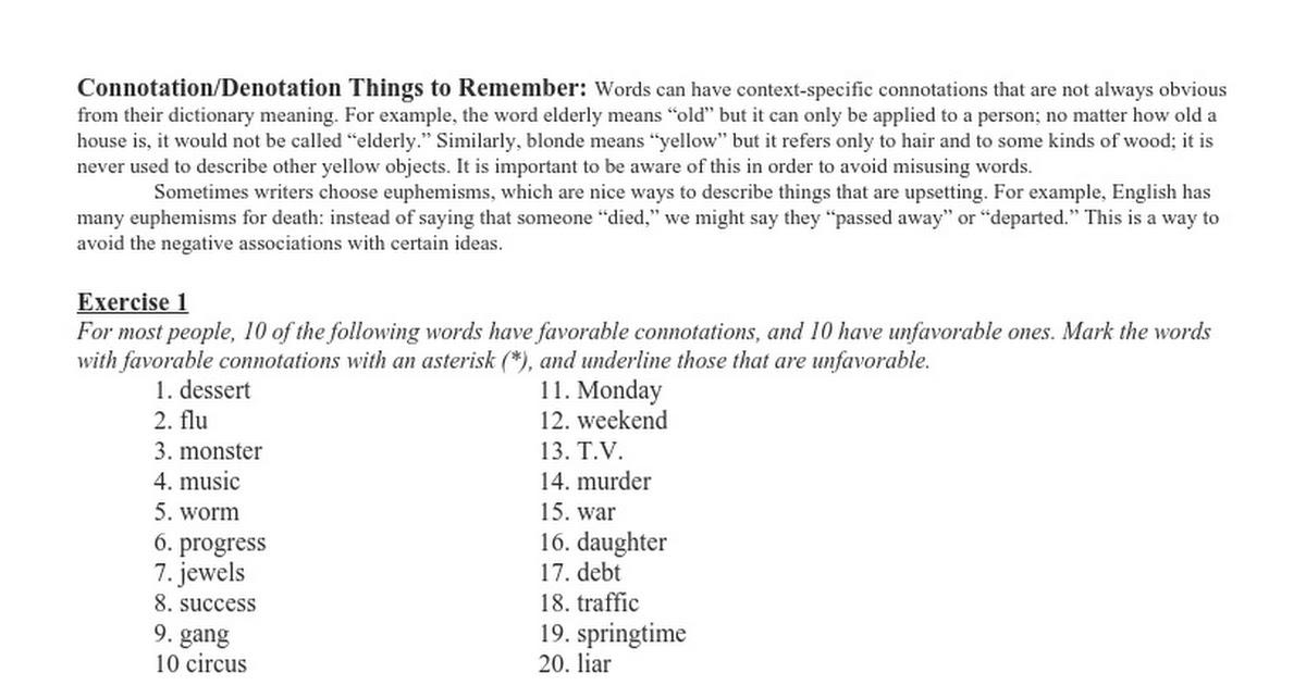 Connotation Worksheet - Deployday