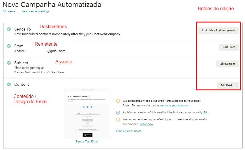 campos de edição de campanha de automação de email