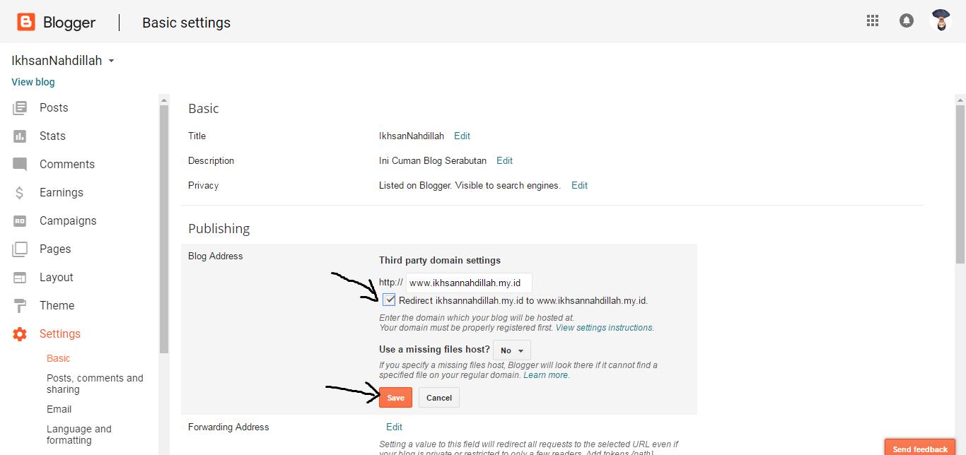 save setting custom domain blogspot