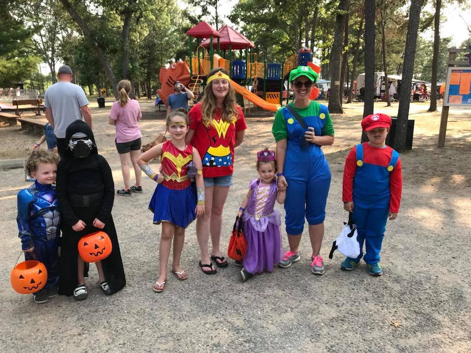 Campers dressed up for halloween at campground