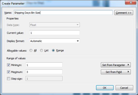 Tableau parameter settings