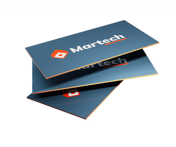 Three sandwich business cards. The top and bottom sheets of the triple layer business cards is printed blue and the interior sheet is orange.