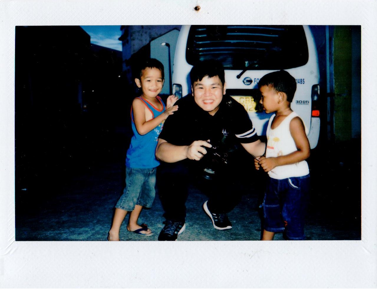 Having my picture taken with some children