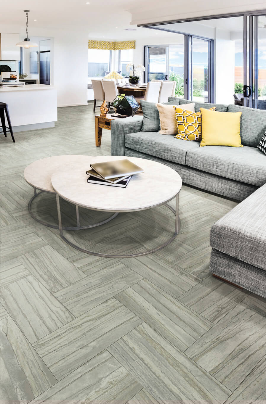 Living room with gray wood-look tile flooring