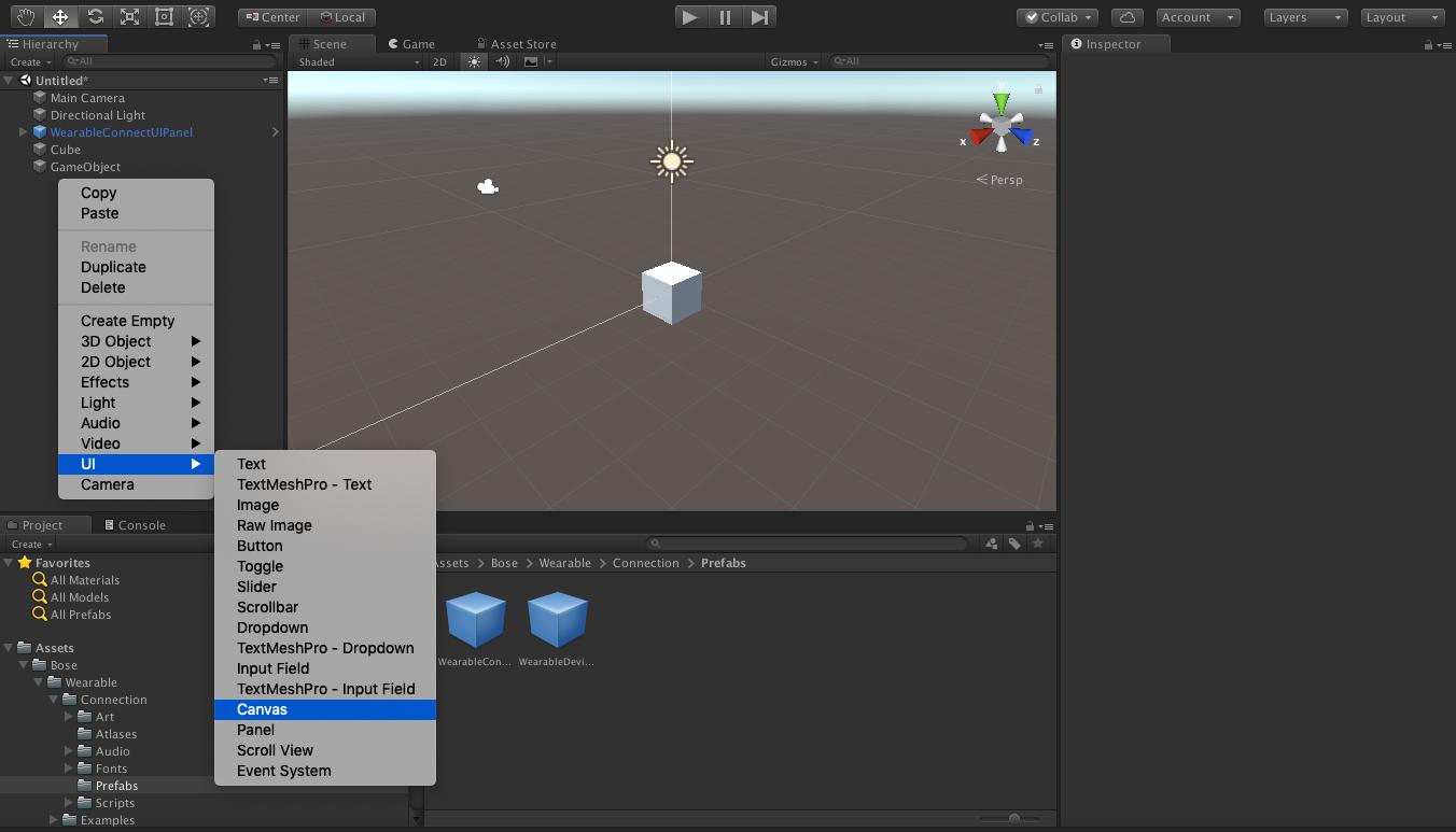 Bose Developer Portal | Guide: Add Live Sensor Data to Unity