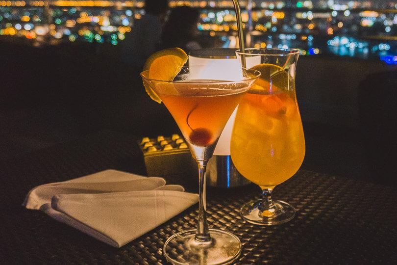 Classy cocktails at the Millenium Hilton Bangkok sky bar Bangkok.