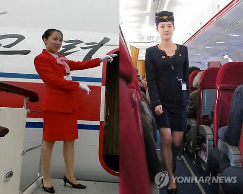Đồng phục cũ (trái) và đồng phục mới (phải) của nữ tiếp viên hãng hàng không Air Koryo của Triều Tiên