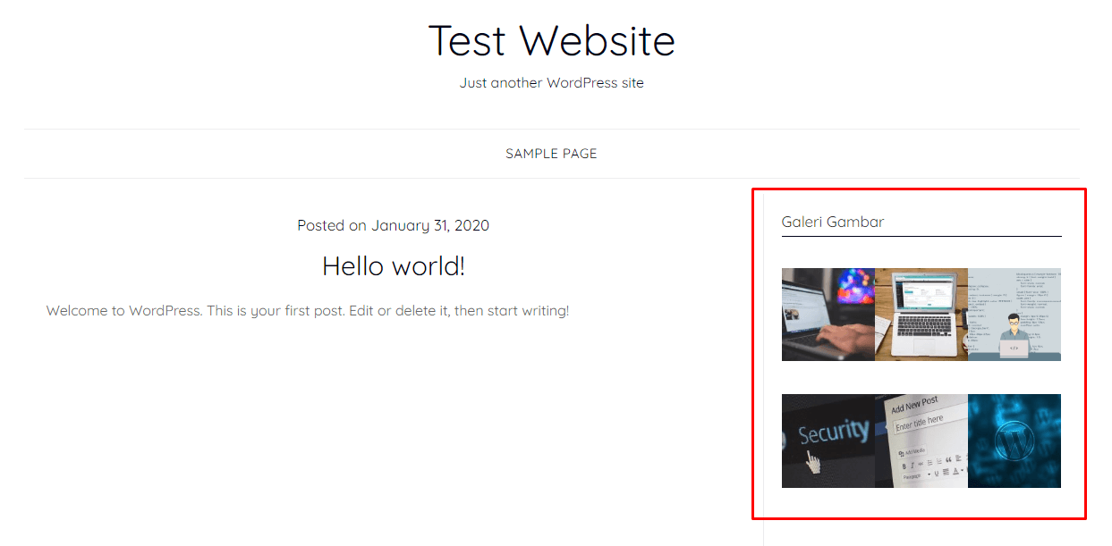 Contoh hasil shortcode WordPress di widget sidebar