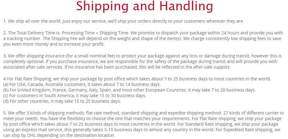 Chinabrands Shipping and Handling Policies