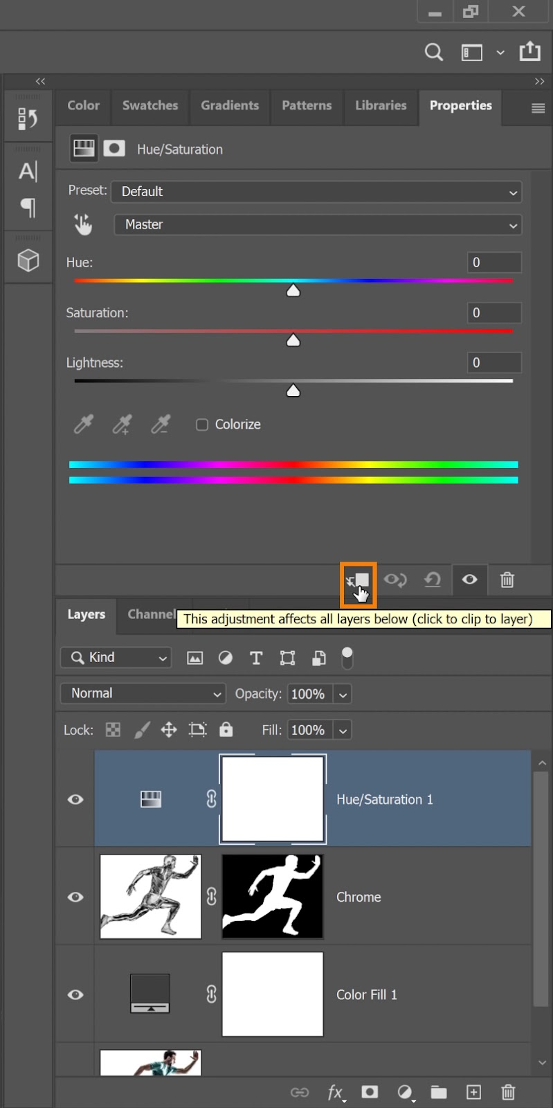 On your Properties panel, click on the Clip Layer Mask icon to clip the adjustment layer to the Chrome layer below it