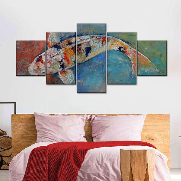Japanese Koi Fish Canvas Art Above The Bed