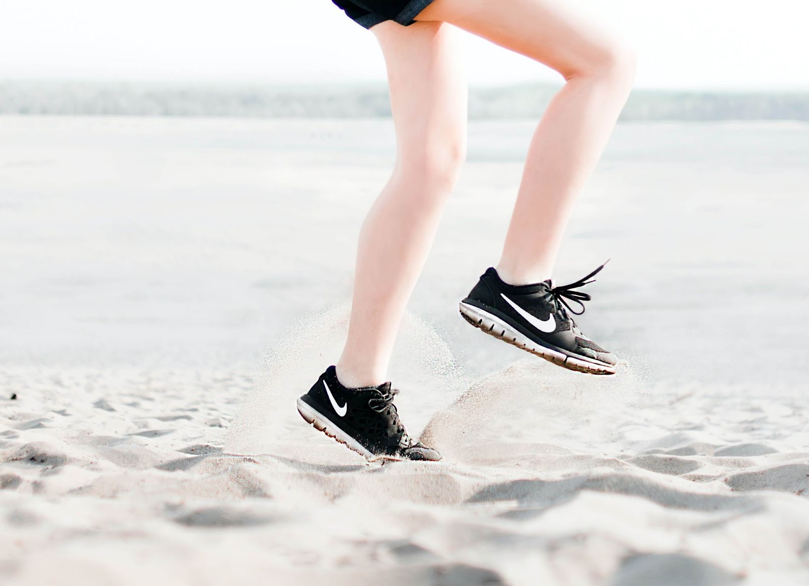 Person running on a beach