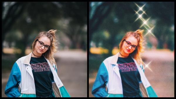 antes e depois da foto de uma mulher em uma praça sendo que uma foto está com filtros de brilhos e a outra não