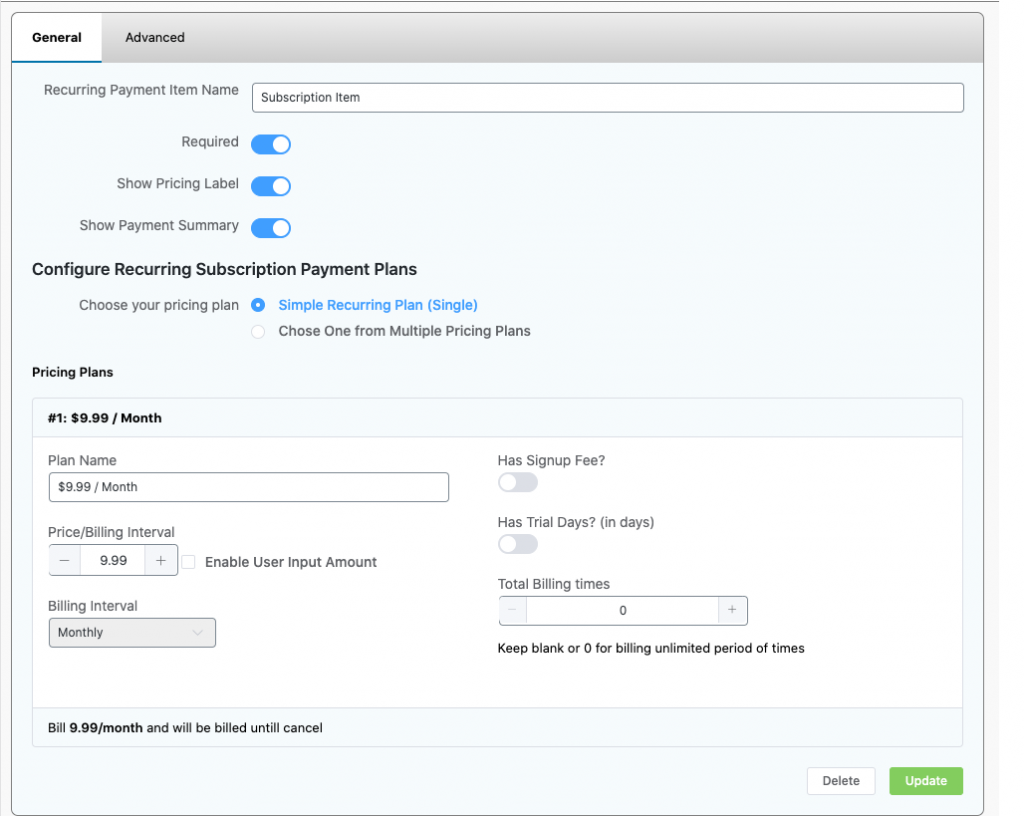 configuring recurring payment wordpress, subscription item field wppayform