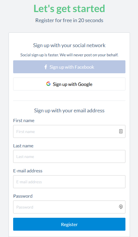 Customer data collection form example from StuDoc