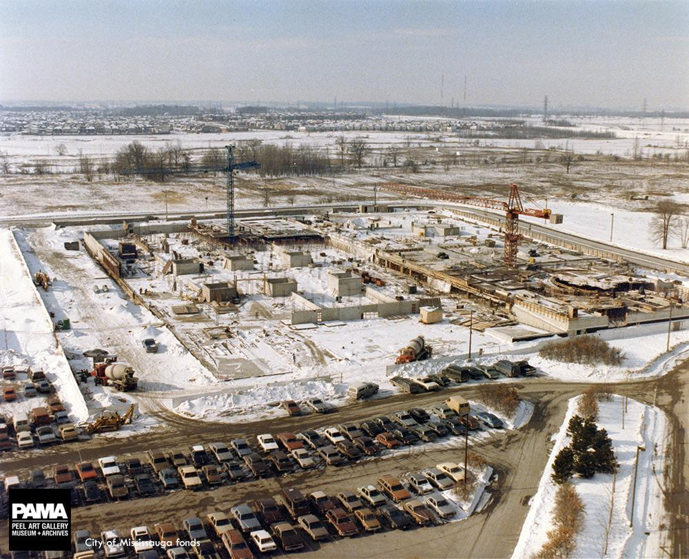 Mississauga had a local photographer snap images of city hall throughout its construction including during the winter of 1985