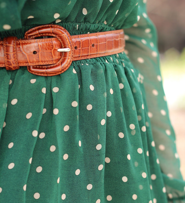 green spotted dress with brown belt