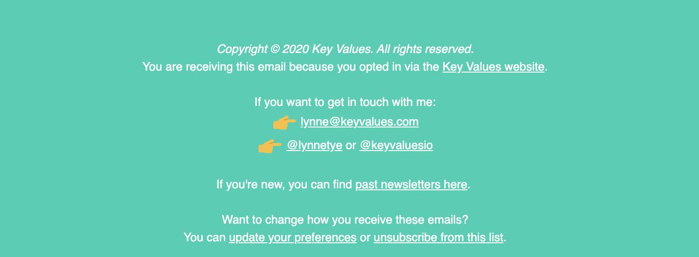 Keyvalues newsletter Footer