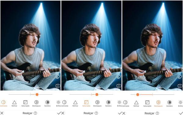 Foto de um homem tocando guitarra, agora em um fundo com luz azul sendo editada pelo AirBrush com a ferramenta Realçar