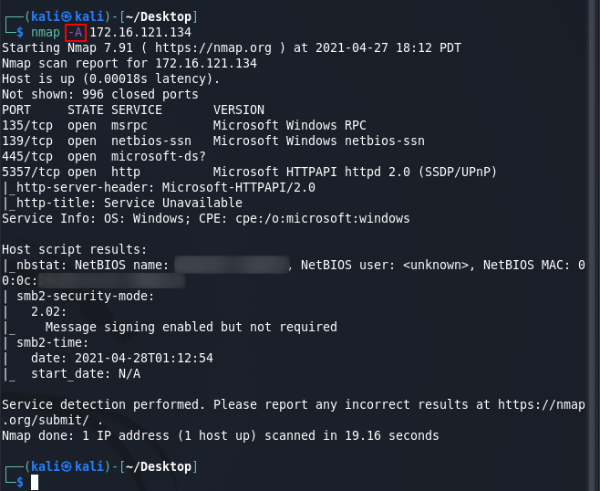 Nmap commands - aggressive scan. Source: nudesystems.com